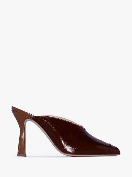Wandler Two Tone Niva 90 Leather Peep Toe Mule Sandals in brown