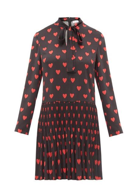 Redvalentino - Heart Print Pussy Bow Crepe Dress - Womens - Black Multi