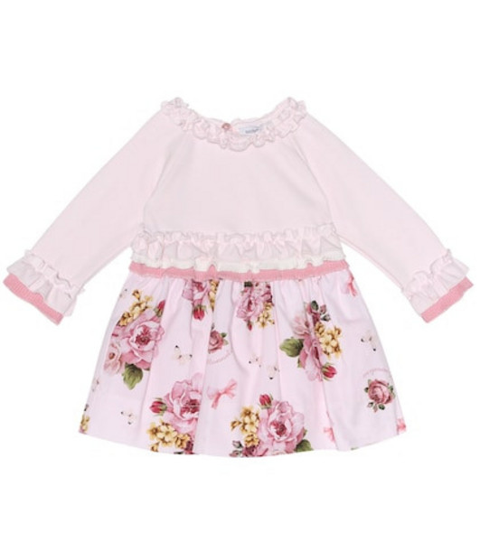 Monnalisa Baby knit-trimmed floral dress in pink