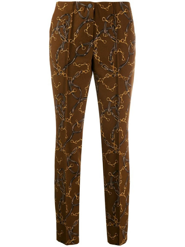 Cambio printed slim fit trousers in brown