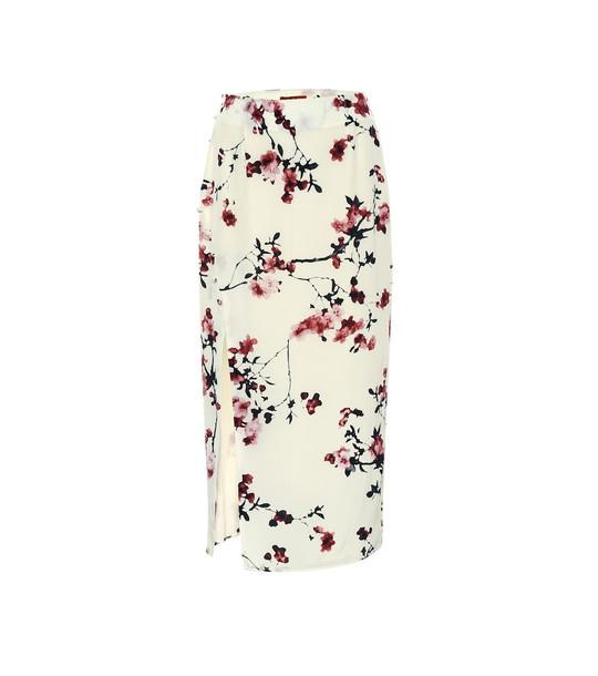 Altuzarra Edmund floral silk pencil skirt in white