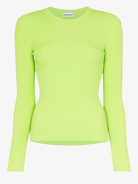 Balenciaga VIP Balenciaga (VIP) ribbed shoulder logo sweater in green