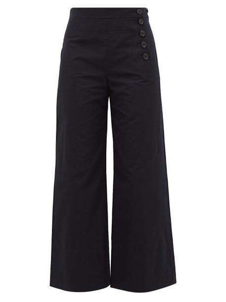 Chloé Chloé - High-rise Wide-leg Cotton-blend Twill Trousers - Womens - Navy