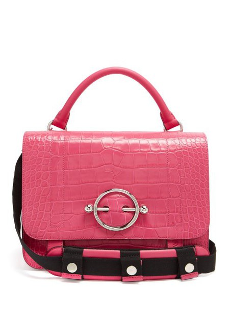 Jw Anderson - Crocodile Effect Leather Bag - Womens - Pink