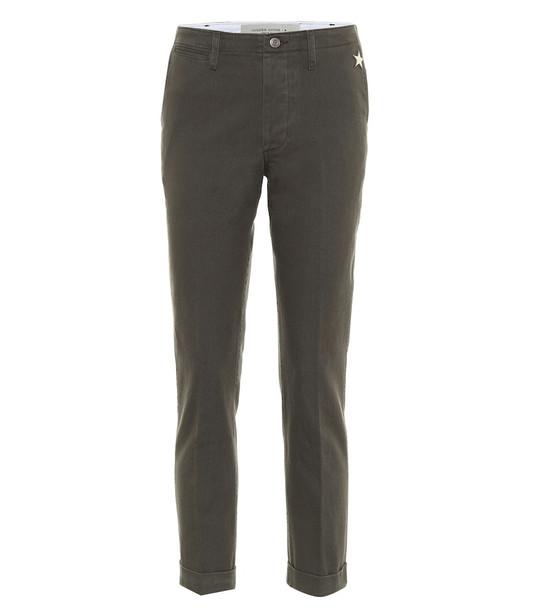 Golden Goose Megan cotton slim pants in green