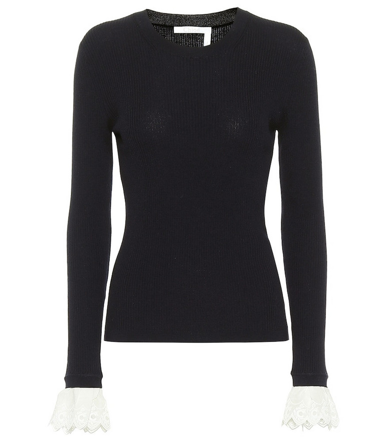 Chloé Lace-trimmed wool sweater in blue