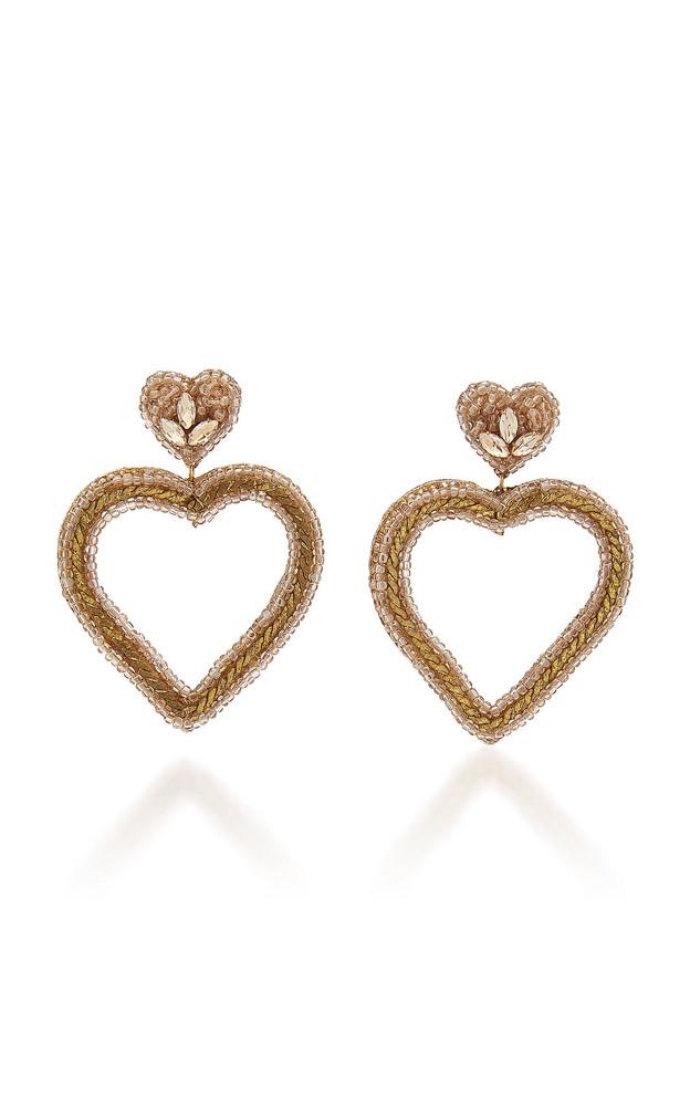 Deepa Gurnani Jamie Beaded Heart Drop Earrings in gold