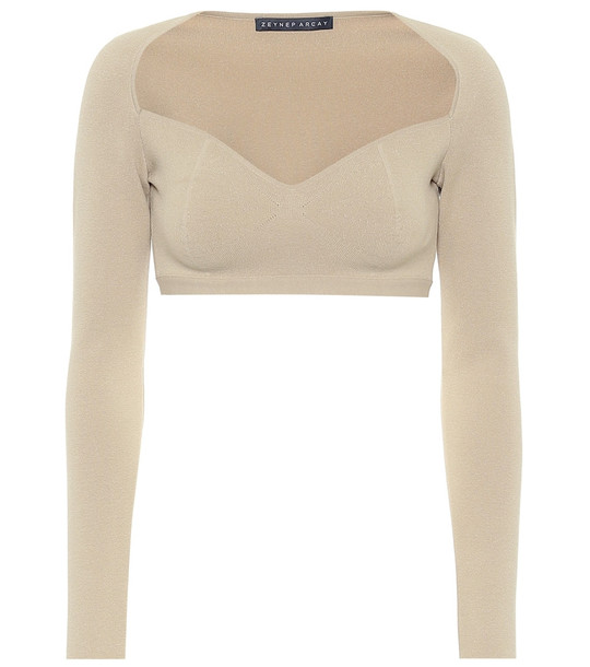 Zeynep Arçay Stretch-knit crop top in beige