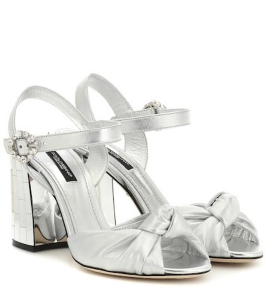 Dolce & Gabbana Mordore metallic leather sandals in silver