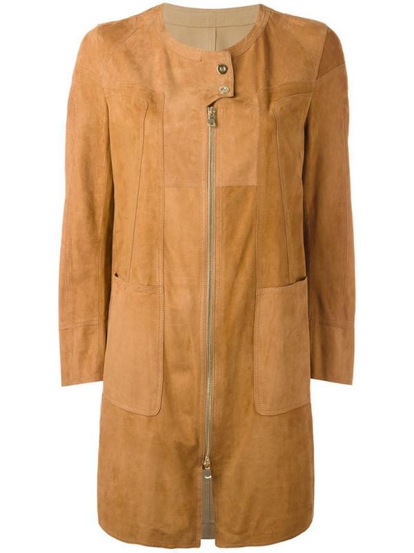 Sylvie Schimmel patchwork coat with zip and press stud fastening in brown
