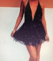 dress,black dress,sequins,fringes