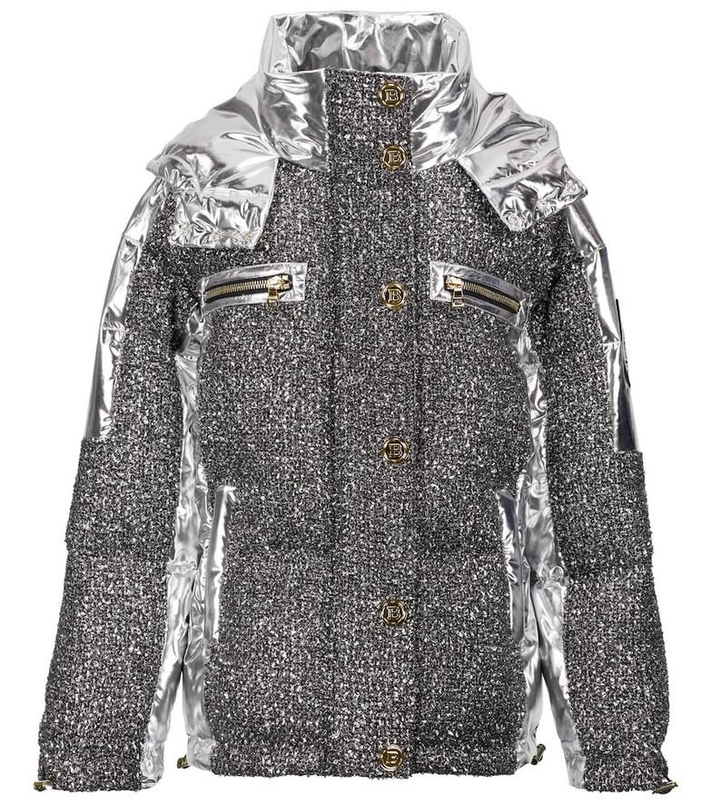 Balmain Lurex® tweed down jacket in silver