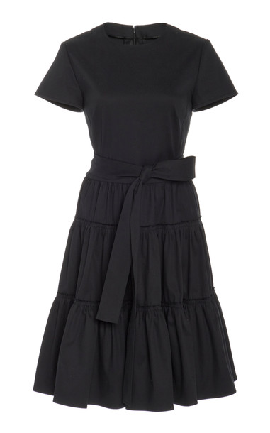 Carolina Herrera Ruffle Tie Shirt Dress Size: 0 in black