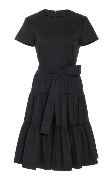 Carolina Herrera Ruffle Tie Shirt Dress Size: 0 in black