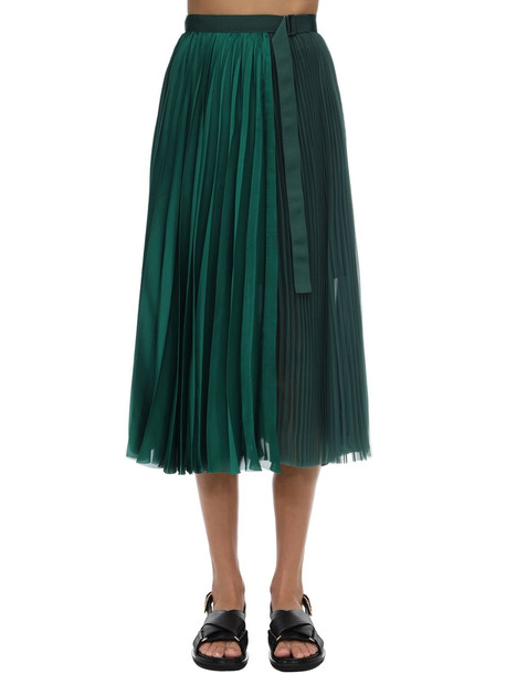 SACAI Pleated Satin Skirt in green