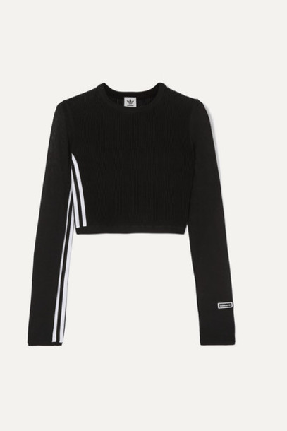 adidas Originals - Cropped Striped Ribbed Stretch-knit Top - Black