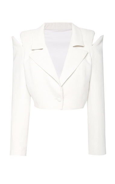 Monot Cropped Crepe Blazer Size: 0 in white