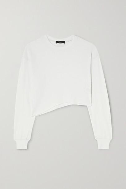 TWENTY Montréal - Everest Thermal Cropped Asymmetric Waffle-knit Jersey Top - White