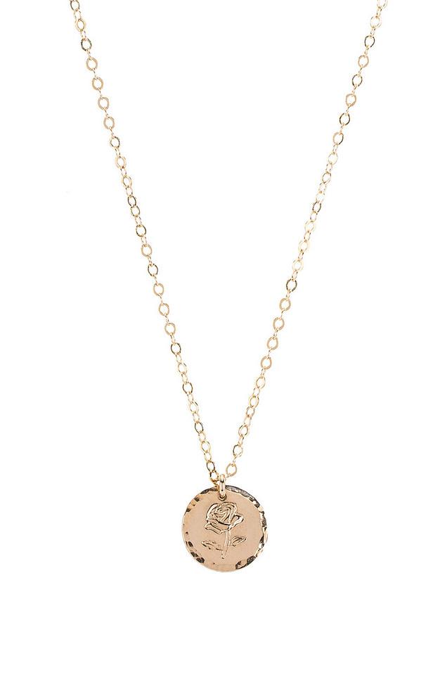 Paradigm Rose Stamp Coin Necklace in gold / metallic
