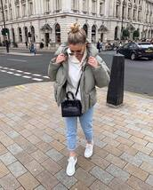 jacket,oversized jacket,hooded jacket,army green jacket,puffer jacket,white sneakers,straight jeans,black bag,crossbody bag,white hoodie