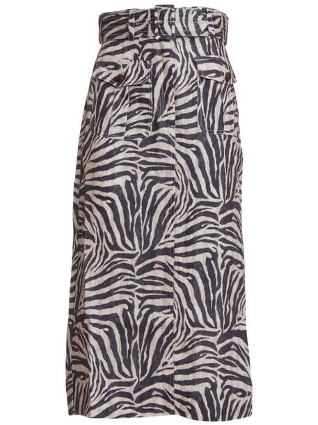 Zimmermann Belted Zebra Print Maxi Skirt In Multicolor