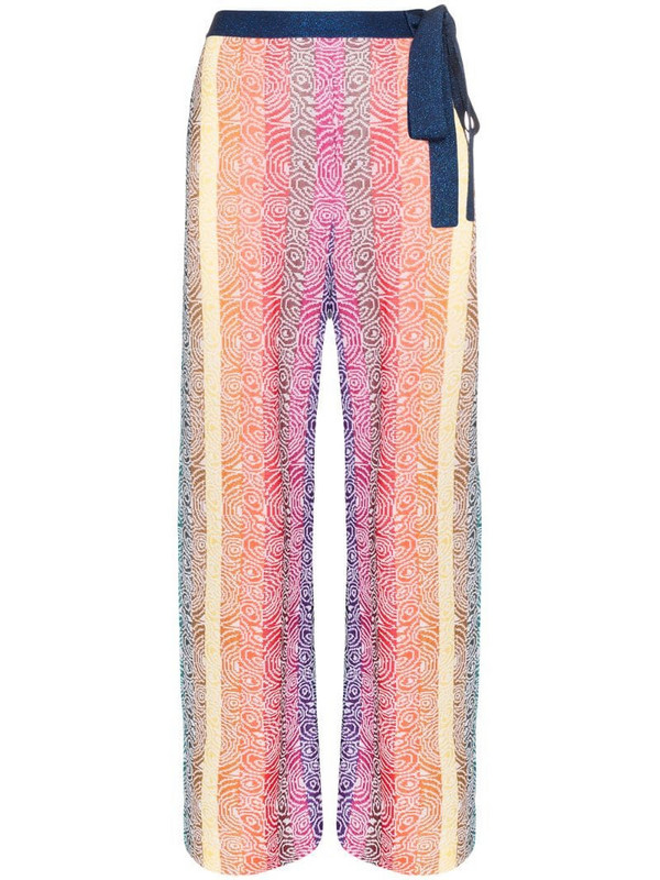 Mary Katrantzou Rego striped knit wide leg trousers in blue
