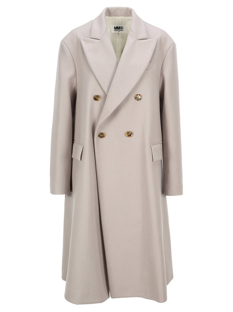 MM6 Maison Margiela Mm6 Double-breasted Oversized Coat in taupe