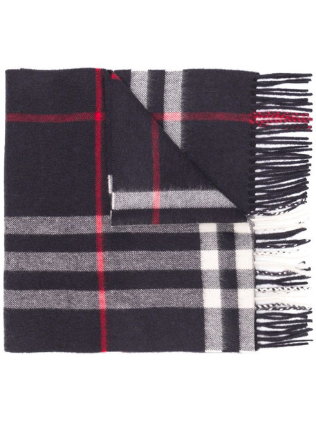 Burberry fringed check scarf in blue