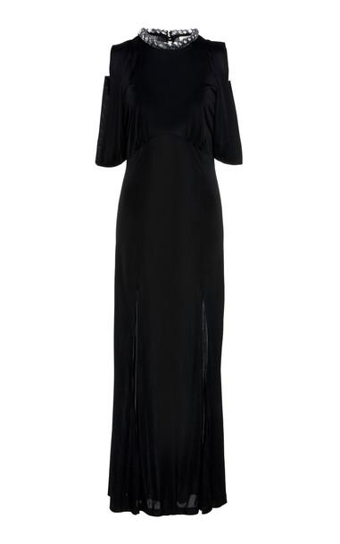 Attico Fluid Jersey Slip Dress in black