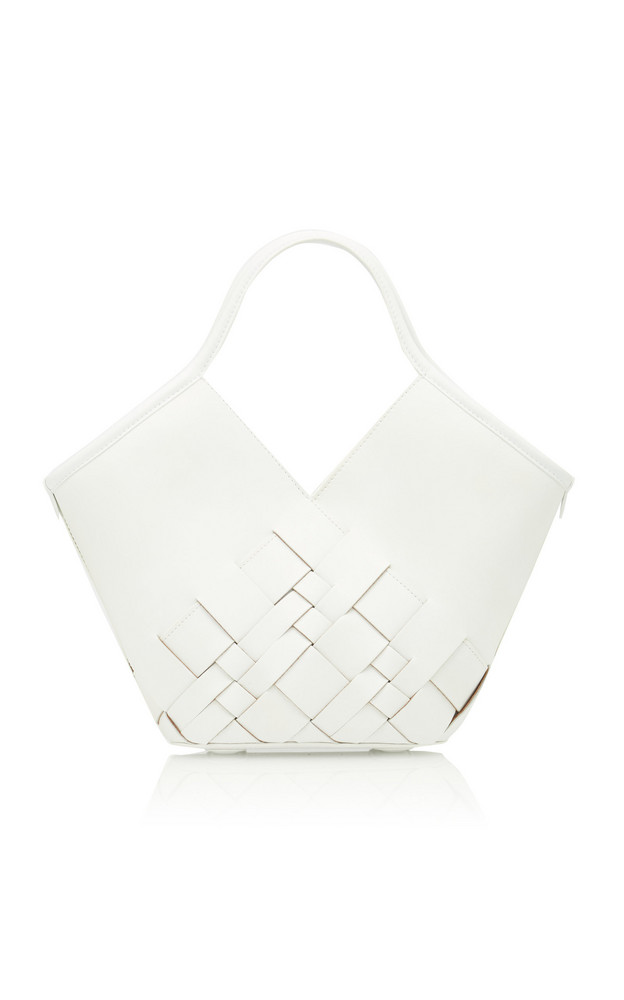 Hereu Colomba Small Woven Leather Tote in white