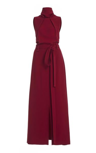 Roland Mouret Millar Belted Crepe Dress in red