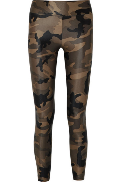 Koral - Lustrous Camouflage-print Stretch Leggings - Army green