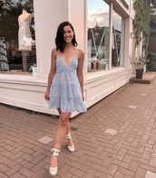 dress,blue dress,floral,floral dress,summer dress,sandals,wedges