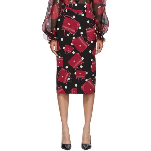 Dolce and Gabbana Black Sicily Bag Pencil Skirt