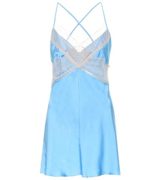 Victoria Beckham Satin and lace camisole in blue
