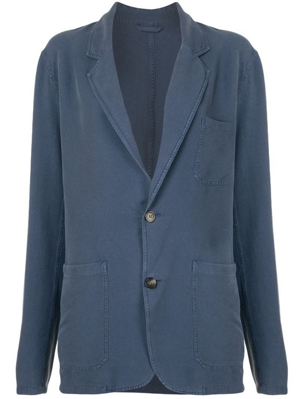 Rochas single-breasted shirt jacket in blue