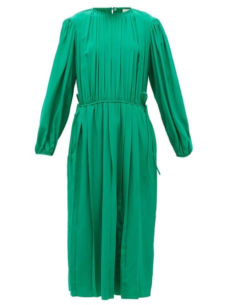 Lemaire - Pleated Silk-georgette Midi Dress - Womens - Green