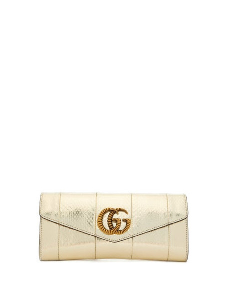 Gucci - Broadway Gg Metallic-snakeskin Clutch - Womens - Silver