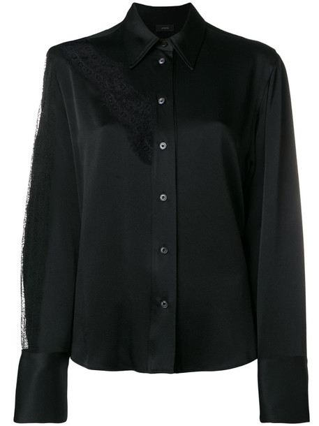 Joseph lace insert detail shirt in black