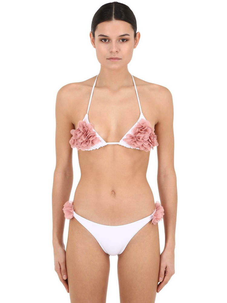LA REVECHE Shayna Lycra Triangle Bikini in white