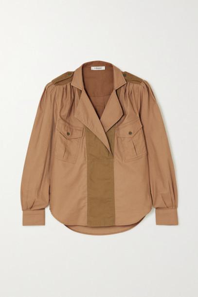 FRAME - Paneled Cotton-twill Shirt - Beige