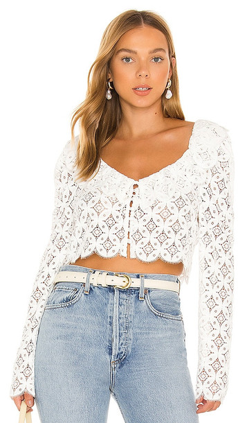 For Love & Lemons Charmaine Crop Top in White