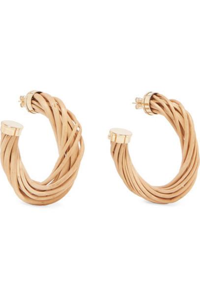 Rosantica - Mamba Gold-tone And Wicker Hoop Earrings - Beige