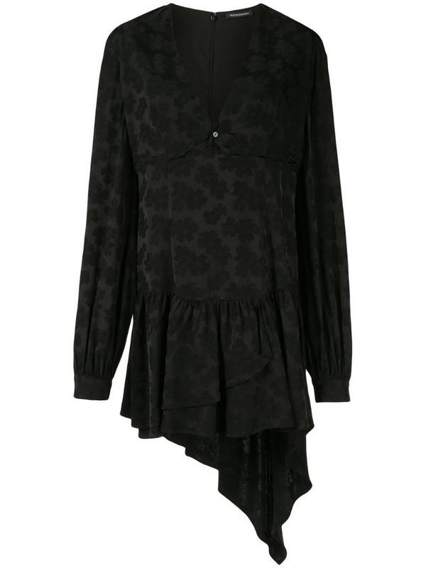 Wandering draped floral mini dress in black