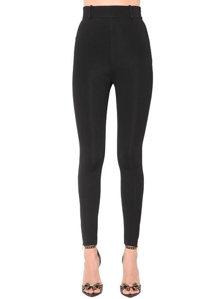 VERSACE High Waist Bonded Jersey Leggings in black