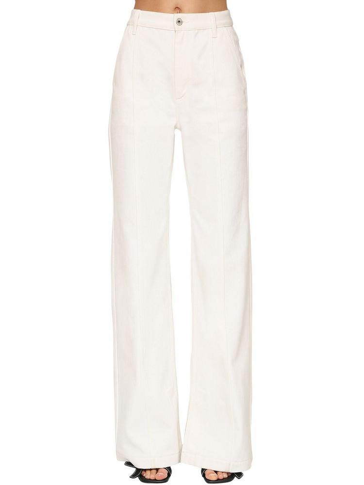 LOEWE High Waist Cotton Denim Flared Jeans in white