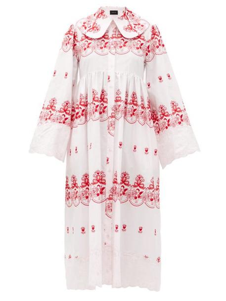 Simone Rocha - Cherub-embroidered Cotton Dress - Womens - Pink Print