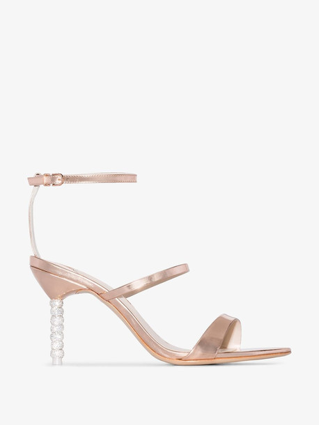 Sophia Webster Rose gold tone Rosalind 85 crystal heel sandals