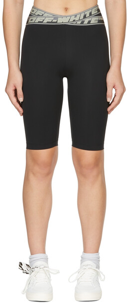 Off-White Black Logo Band Shorts