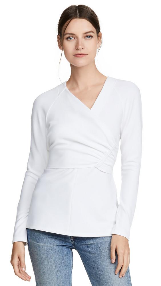 Tibi V Neck Wrap Top in white